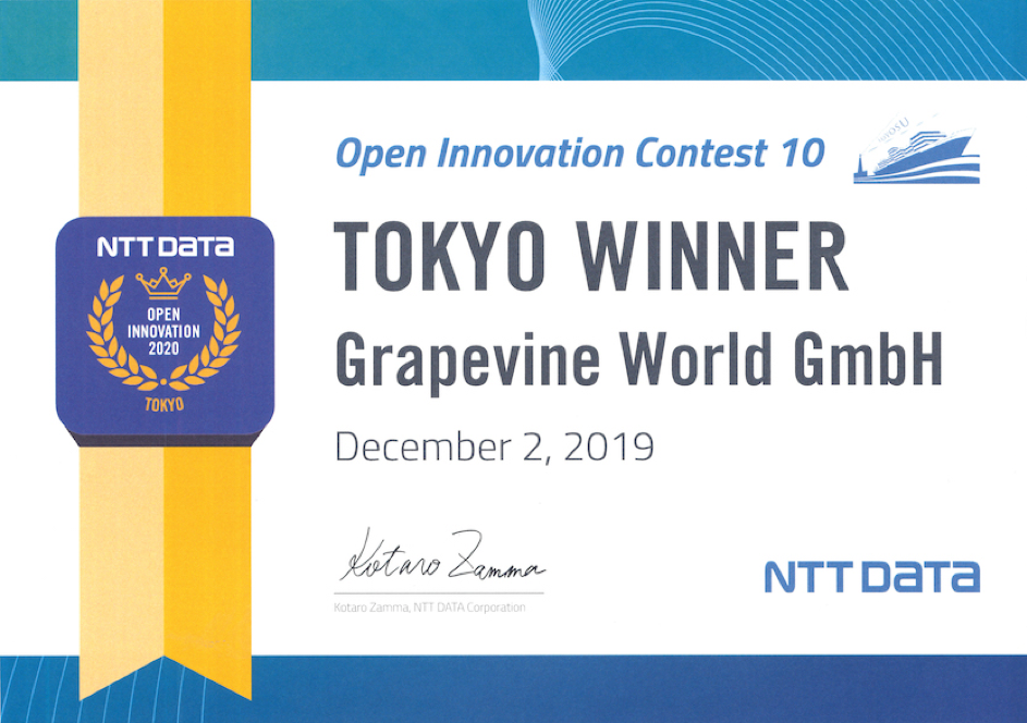 NTT Data chose Grapevine as Tokyo's Winner of the Open Innovation Contest 10